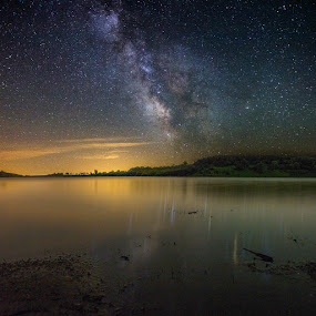 Reflections by Aaron Groen - Landscapes Starscapes ( water, reflection, starlight, lincoln county, lake, south dakota, milky way, sky, nature, lake lakota, stars, night, natural )