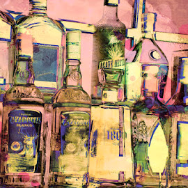 Bottles in a Bar by Merna Nobile - Artistic Objects Glass ( alcohol, bottles bar alcohol, bottles, bar )