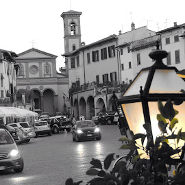 Greve in Chianti by Di Mc - Novices Only Street & Candid ( colour, black n white, village, cars, town square )