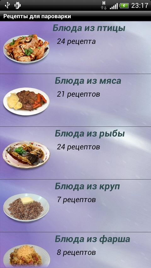 Рецепты приготовления блюд пароварке