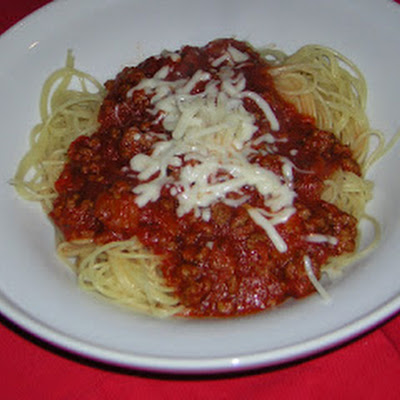 April's Angel Hair Pasta with Meat Sauce