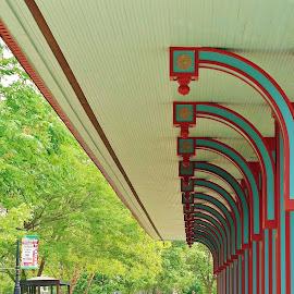 Trolley Stop by Lori Kulik - City,  Street & Park  City Parks ( park, street, historic, city,  )