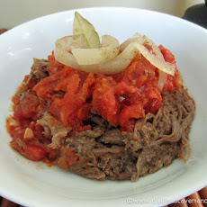 Crock Pot Beef Tongue with Roasted Pepper Sauce