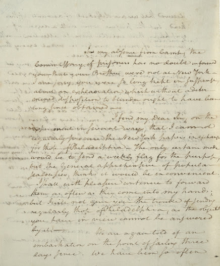 "In this gloomy letter to a French diplomat, Hamilton expresses frustration at Congress's inability to raise funds for the army.  ""The want of money makes us want everything else.""  Read the letter on the <a href=""https://www.gilderlehrman.org/history-by-era/hamilton/resources/alexander-hamilton%E2%80%99s-%E2%80%9Cgloomy%E2%80%9D-view-american-revolution-1780"">Gilder Lehrman website</a>."