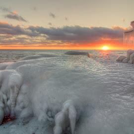 Ice Sunset by David Johnson - Landscapes Sunsets & Sunrises ( colorful, sunset, ice, artistic, lake superior )