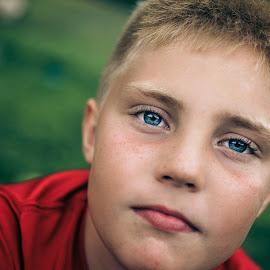 by Angela Sweeney Sellards - Babies & Children Child Portraits ( blonde hair, blue eyes, young man, handsome, eyes )