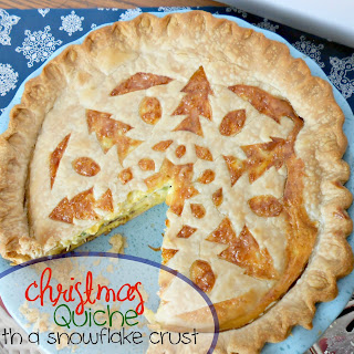 Christmas Quiche with snowflake crust