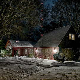 Rehoboth Evening by Alan Roseman - Buildings & Architecture Homes ( rehoboth, new england, january, snow, night )