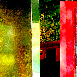 Entrance in Red & Green by Ronnie Caplan - Digital Art Places ( patterns, red, green, entranceway, shadows )