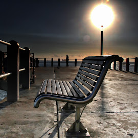 Pier Bench by Andre Oelofse - City,  Street & Park  City Parks ( bench, pier, sun,  )