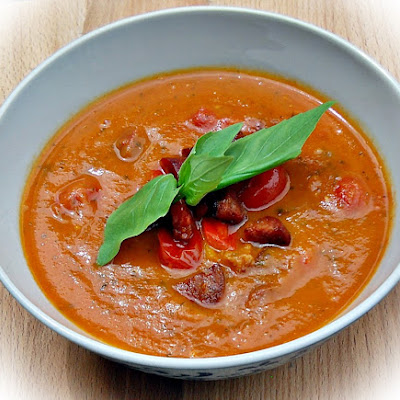Roasted Tomato, Red Pepper and Chorizo Soup