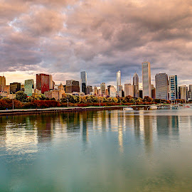 Chicago Morning by John Larson - City,  Street & Park  Skylines ( clouds, skyline, buildings, reflections, lake, city )
