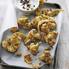 Cauliflower Pakoras With Pomegranate Raita