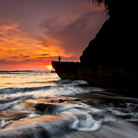 Almost by Choky Ochtavian Watulingas - Landscapes Waterscapes ( clouds, sky, sunset, wave, beach, seascape, fisherman )