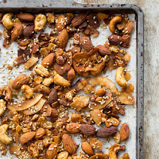 Smoky & Spicy Nut, Sesame, and Coconut 'Bacon' Bar Nuts