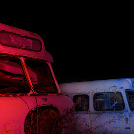 bus graveyard by Malcolm Trees - Transportation Automobiles ( black background, bus, night, decay,  )