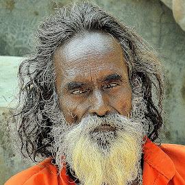 Gloomy Eyes.. by Saikat Kundu - People Portraits of Men ( wrinkles, orange, white beard, old, old man, close up, man,  )