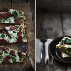 Herbed Flatbread with Prosciutto, Arugula Pesto & Sheep's Milk Cheese