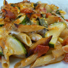 Baked Penne With Corn, Zucchini and Basil