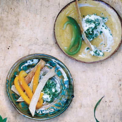 Spiced Yogurt Dip with Pita and Peppers