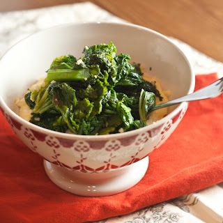 Garlicky Greens with Microwave Polenta