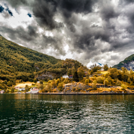 Sogne fjord by Rio Tanusudiro - Landscapes Cloud Formations ( clouds, mountain, sognefjord, trees, cloudy, summer, travel, norway, fjord )