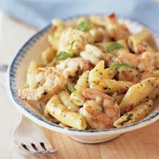 Shrimp and Pasta with Creamy Pesto Sauce