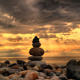 Stone  &  Clouds  by Murat Can - Landscapes Beaches ( cloud, stone, sunshine, sünnet )
