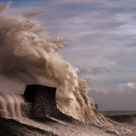 Force of nature by Richard Lakey - Landscapes Waterscapes ( water, waterscape, wales, waves, lighthouse, storm, dangerous, danger, nature, wave, porthcawl, wall, crash )