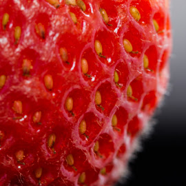 strawberry by Sandra Pyke - Abstract Macro ( macro, red, sanlee, seeds, strawberry )