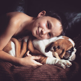 bully love by Kelly Gregory - Novices Only Portraits & People ( love, bulldogs, family, pets, flatnose, furryfamily,  )