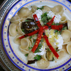 Orecchiette with Marinated Eggplant, Burrata and Chilies