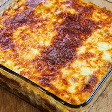 Baked Whole Wheat Spaghetti Casserole with Turkey Italian Sausage and Mozzarella