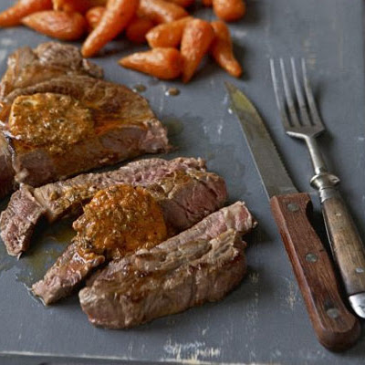 Sirloin With Spiced Butter, Shallot Salad, Roasted Carrots & Mash