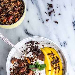 Coconut Oats Smoothie Bowl with Crunchy Black Sesame Quinoa Cereal + Mint.