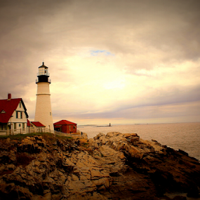 The Light House by Sudipta Jana - Digital Art Places ( portland, maine, lighthouse, sea, evening )