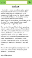 Screenshot of Google Android Updates Info