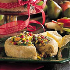 Smoky Green Chile-Cheddar Cheese with Avocado-Mango Salsa