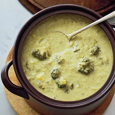 Broccoli Soup with Ham-and-Swiss Toasts