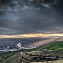 The City Below by Jessie Salmonson - Landscapes Travel ( clouds, idaho, hills, rolling hills, lewiston, sunset, dramatic, best, cityscape, city, river )