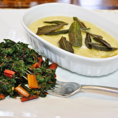 Sauteed Greens And Crispy Sage With Polenta