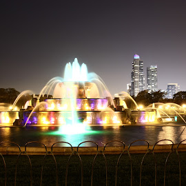 Chicago  by Illusion Signs - City,  Street & Park  Fountains ( chcago water fountain, fountain, night )