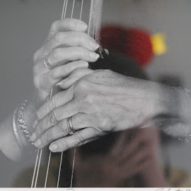 Gramma's Hands by Barbara Langfeld - People Musicians & Entertainers ( reflection, hands, photo, people, grandmother )