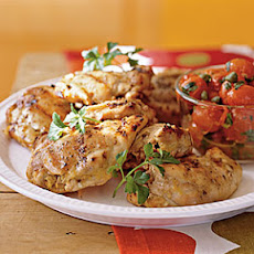 Grilled Chicken Thighs with Roasted Grape Tomatoes