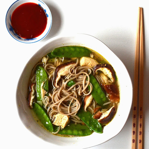 Soba Noodle Soup with Mushrooms & Snow Peas