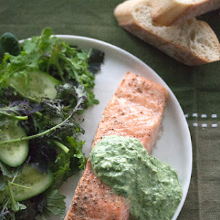 Cedar-Planked Salmon with Fresh Sorrel Sauce