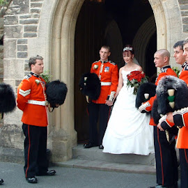 Military Guard of Honour by John Davies - People Group/Corporate ( happy couple, welsh guards, wedding, bride & groom, guard of honour )