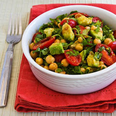 Garbanzo, Tomato, and Cilantro Salad with Lime and Chile Dressing (with or without avocado)