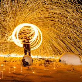 Spinning II by Mark Rogers - Abstract Light Painting ( spinning, snow, night, long exposure, sparks, colorful, mood factory, vibrant, happiness, January, moods, emotions, inspiration )