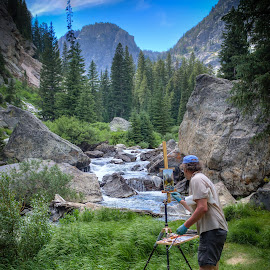 The Artist at Work by Sean Camp - Landscapes Mountains & Hills ( mountains, national parks, artist, landscapes, rivers )